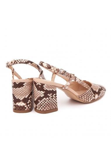 Sandale dama toc gros din piele naturala bej 5336