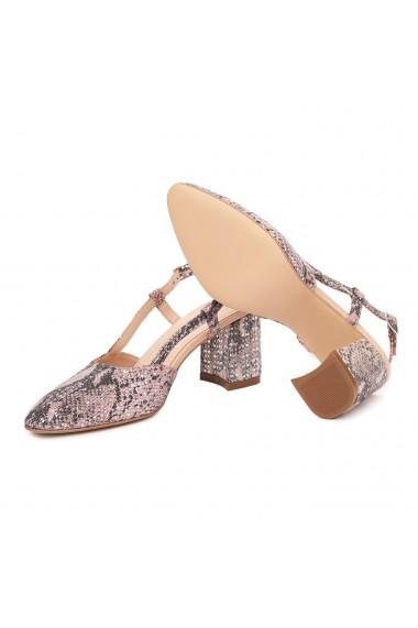 Sandale dama toc gros din piele naturala bej 5371