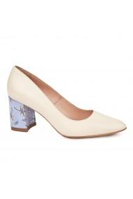 Pantofi dama toc gros din piele naturala crem 4771