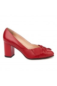 Pantofi dama din piele naturala rosie 4708
