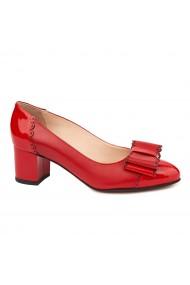 Pantofi dama din piele naturala rosie 4710