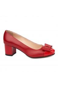 Pantofi dama din piele naturala rosie 4711