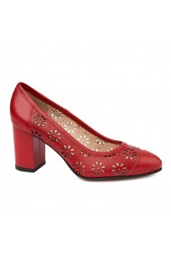 Pantofi dama din piele naturala rosie 4714