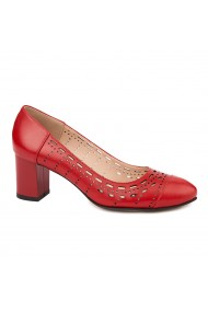 Pantofi dama din piele naturala rosie 4715