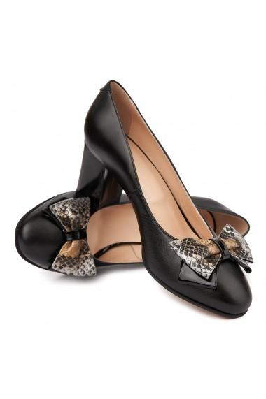 Pantofi dama din piele naturala neagra 4728