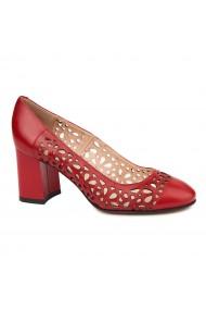 Pantofi dama din piele naturala rosie 4734