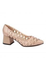 Pantofi dama din piele naturala bej 4735