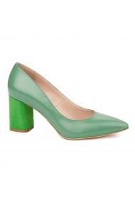 Pantofi dama toc gros din piele naturala verde 4774