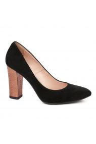 Pantofi dama toc gros din piele naturala neagra 4776