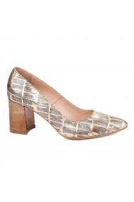 Pantofi dama toc gros din piele naturala bej 4777