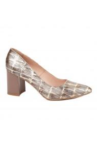 Pantofi dama toc gros din piele naturala bej 4779