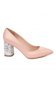 Pantofi dama toc gros din piele naturala roz 4781
