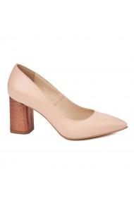 Pantofi dama toc gros din piele naturala nude 4782