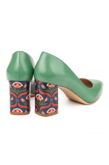 Pantofi dama toc gros din piele naturala verde 4783