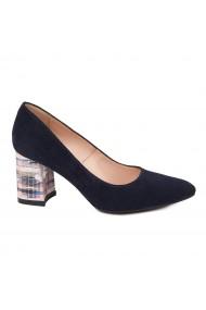 Pantofi dama toc gros din piele naturala neagra 4784