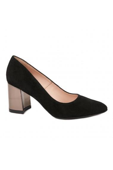 Pantofi dama toc gros din piele naturala neagra 4785