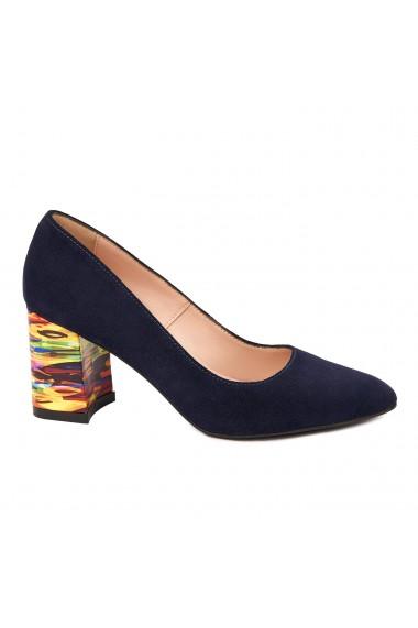 Pantofi dama toc gros din piele naturala bleumarin 4786