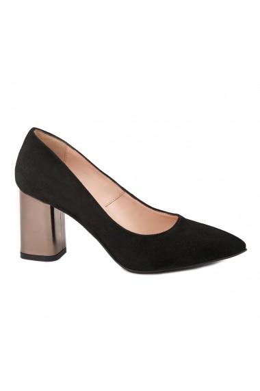 Pantofi dama toc gros din piele naturala neagra 4787