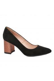 Pantofi dama toc gros din piele naturala neagra 4788