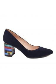Pantofi dama toc gros din piele naturala neagra 4791