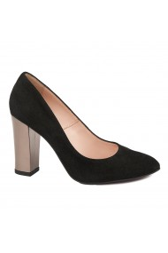 Pantofi dama toc gros din piele naturala neagra 4792
