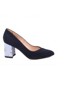 Pantofi dama toc gros din piele naturala bleumarin 4794