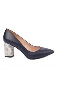 Pantofi dama toc gros din piele naturala bleumarin 4796