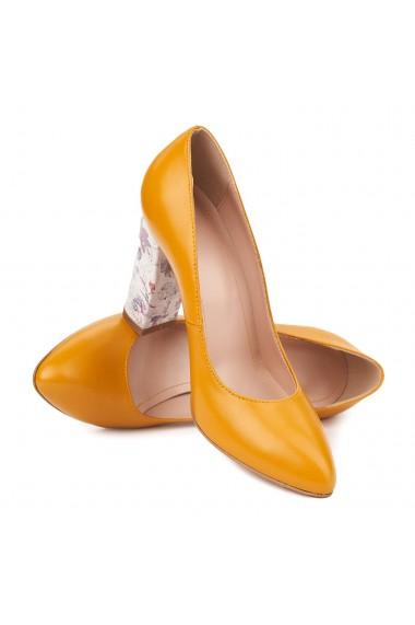 Pantofi dama toc gros din piele naturala galbena 4799