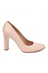 Pantofi dama toc gros din piele naturala bej 4801