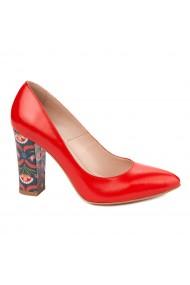 Pantofi dama toc gros din piele naturala rosie 4802