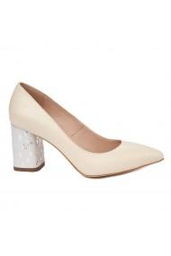 Pantofi dama toc gros din piele naturala crem 4805