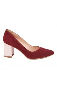 Pantofi dama toc gros din piele naturala caramiziu 4806
