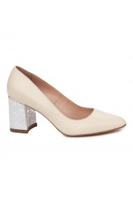 Pantofi dama toc gros din piele naturala crem 4807
