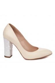 Pantofi dama toc gros din piele naturala crem 4808