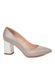 Pantofi dama toc gros din piele naturala bej 4809