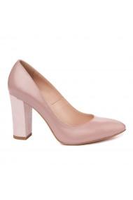 Pantofi dama toc gros din piele naturala bej 4810