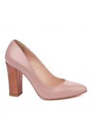 Pantofi dama toc gros din piele naturala bej 4811