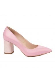 Pantofi dama toc gros din piele naturala roz 4814