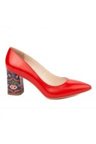 Pantofi dama toc gros din piele naturala rosie 4815
