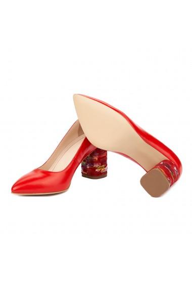 Pantofi dama toc gros din piele naturala rosie 4816