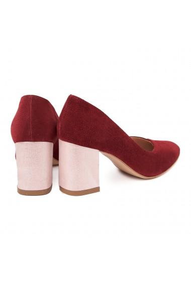 Pantofi dama toc gros din piele naturala grena 4817