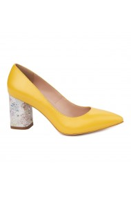 Pantofi dama toc gros din piele naturala galbena 4818
