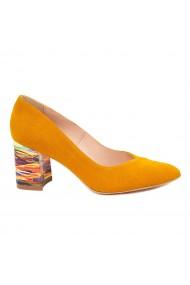 Pantofi dama toc gros din piele naturala orange 4819