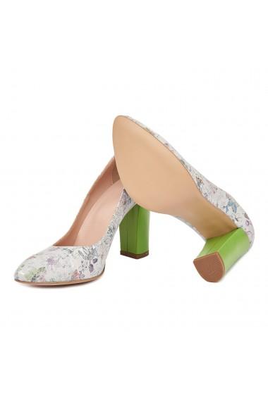 Pantofi dama toc gros din piele naturala bej 4823