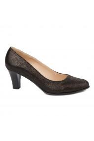 Pantofi dama toc gros din piele naturala maro 4825