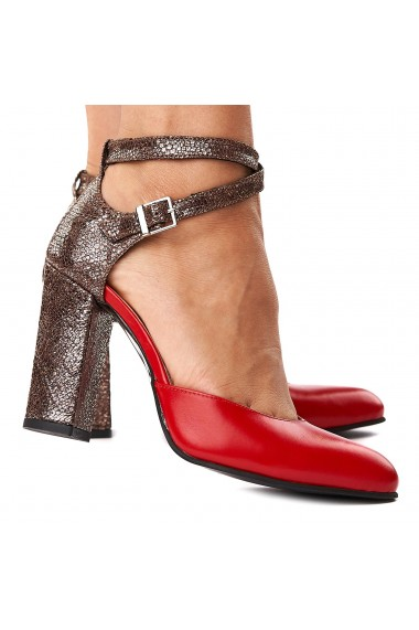 Sandale elegante din piele naturala rosie 5255
