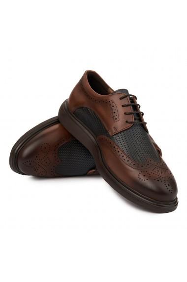 Pantofi casual din piele naturala maro 0238