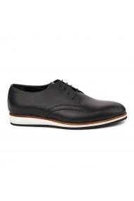 Pantofi sport casual sport din piele naturala neagra 7028