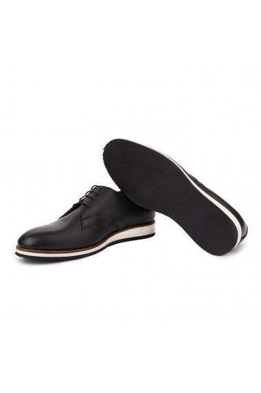 Pantofi casual sport din piele naturala neagra 7028