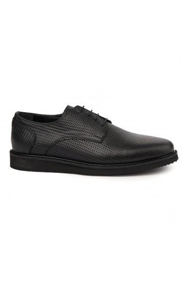 Pantofi casual sport din piele naturala neagra 7029